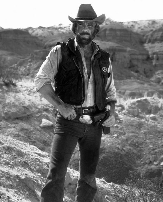 Happy birthday to Chuck Norris. Photo from Lone Wolf McQuade, 1983.
