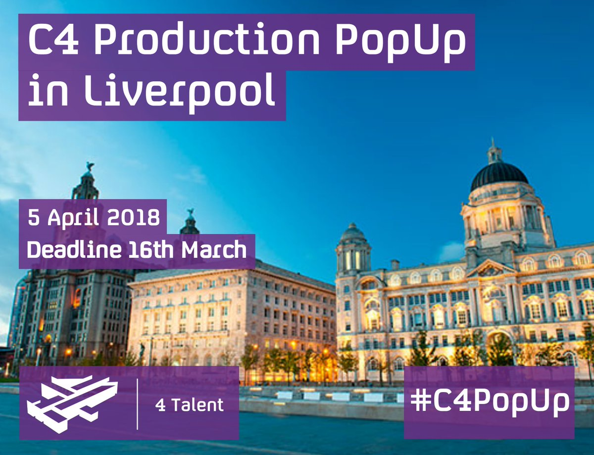 Want to know more about media production? Channel 4 are coming to Liverpool to tell you! Free event, but must apply bit.ly/2GRS7q2 #C4PopUp @4Talent @MyKindaFuture