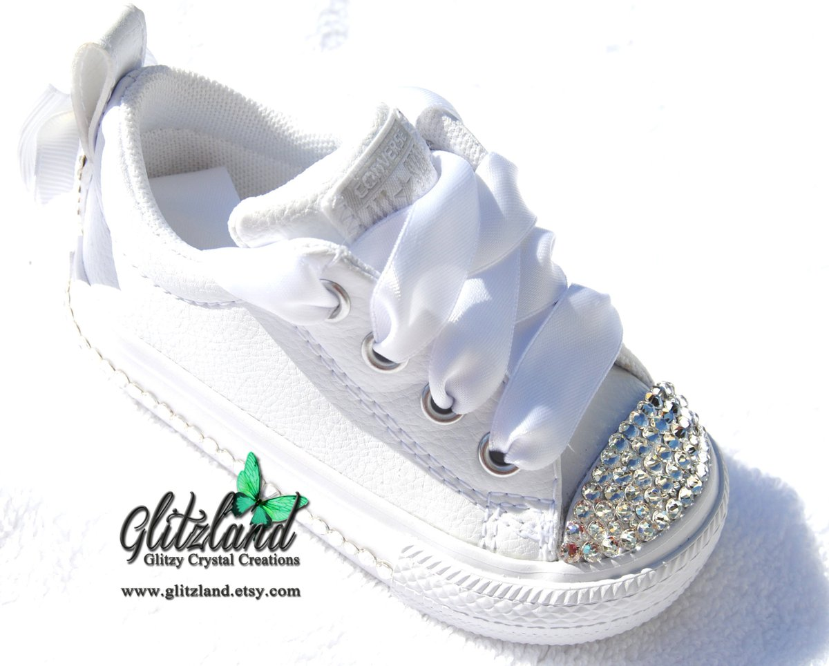 6ebab471fde7 ... shop  Swarovski Converse Baby   Infant   Toddler Kids Chuck Taylor  Street Slip Leather Sneakers Blinged with SWAROVSKI® Crystals http   etsy.me 2Hps3Df  ...