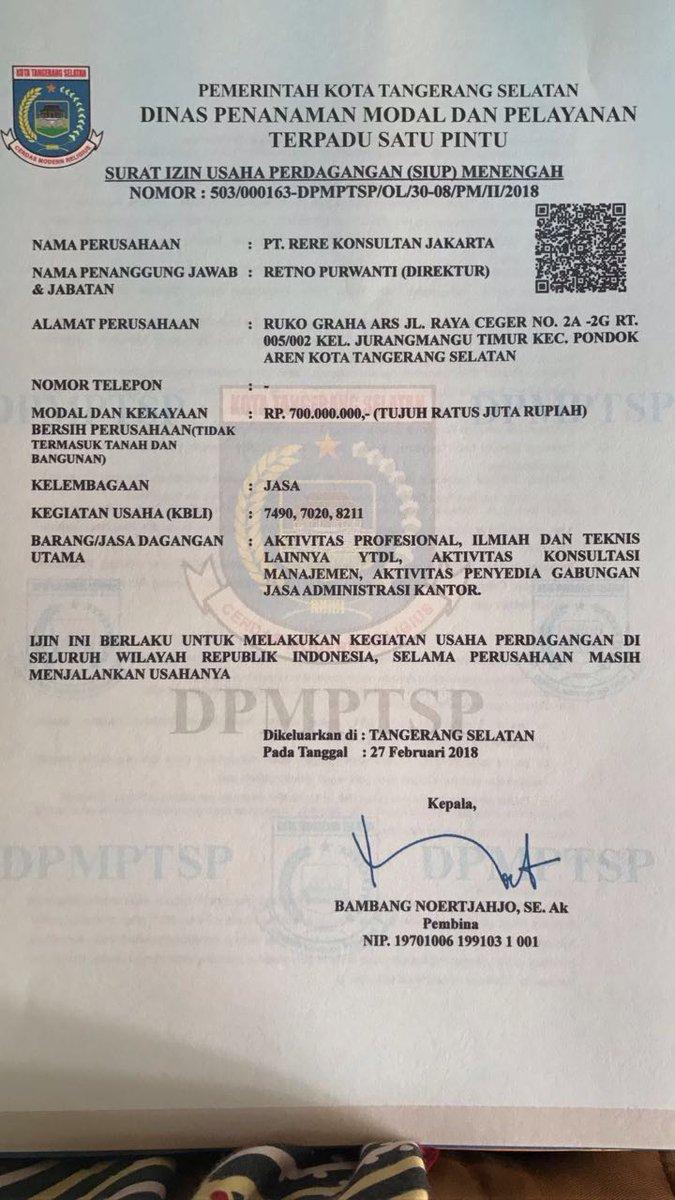 Konsultan Jakarta A Twitter Alhamdulillah Surat Izin Usaha Perdagangan Siup Dan Tanda Daftar Perusahaan Tdp Pt Rere Konsultan Jakarta Dikantor Baru Sudah Jadi Jasa Birojasa Notaris Notarisppat