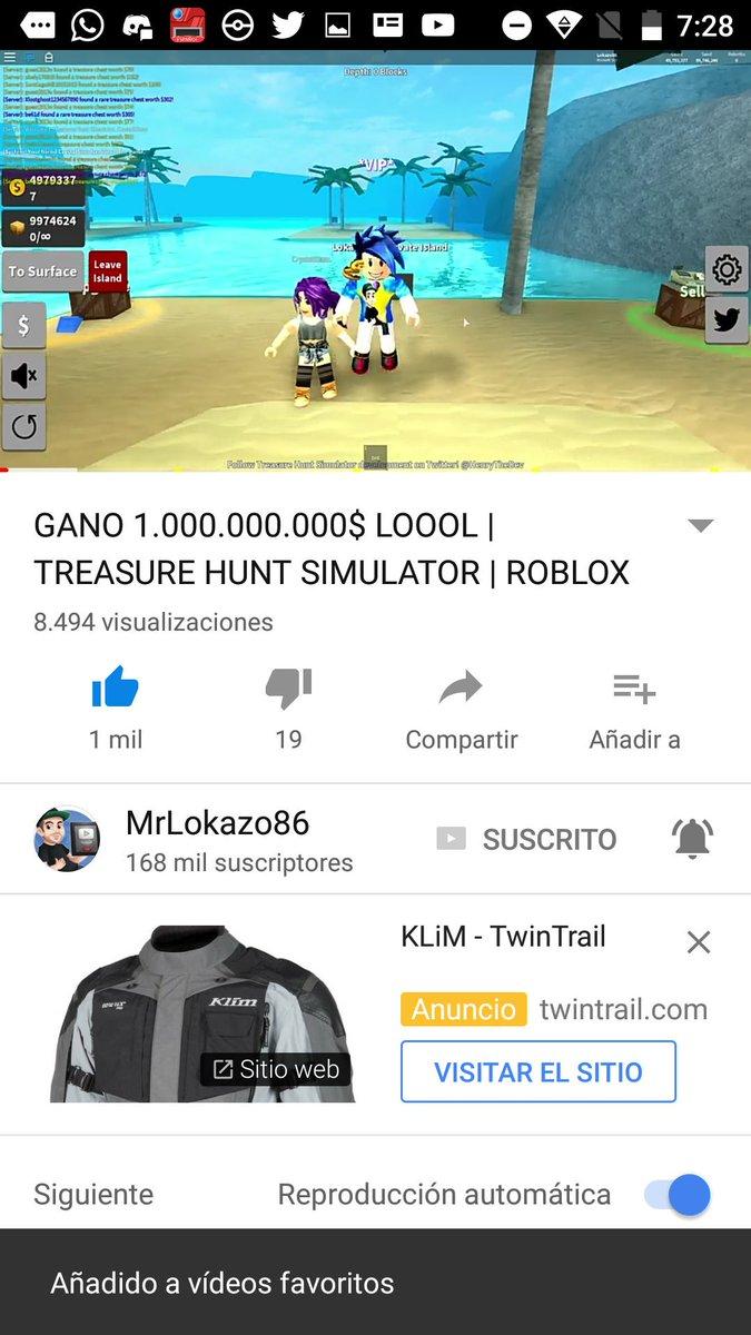 Roblox Treasure Hunt Simulator Videos - Mrlokazo86 Saiyan On Twitter Gano 1000000000 Loool
