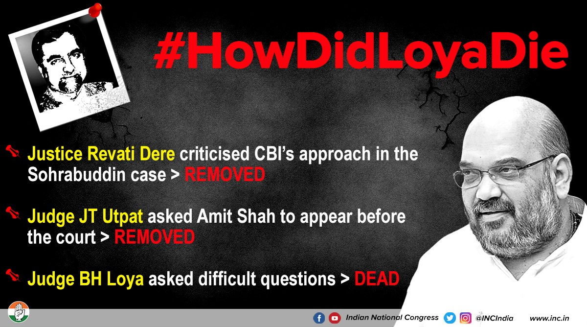 There seems to be a strange pattern connecting cases involving Amit Shah and judges hearing those cases. What the country wants know (and urgently) is: #HowDidLoyaDie