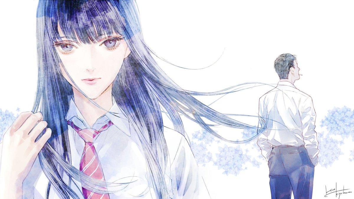 橘あきらと後ろ姿の店長・近藤正己の『恋は雨上がりのように』の壁紙