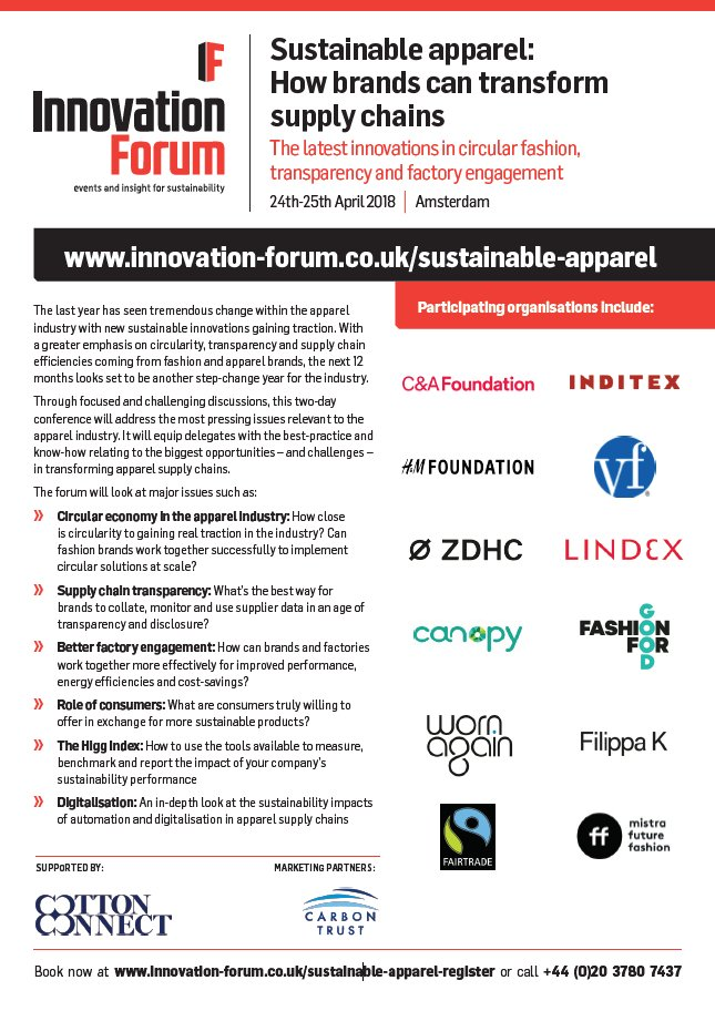 c222a21180ea The brochure to our upcoming  Sustainable apparel  How brands can transform supply  chains  (24th-25th April
