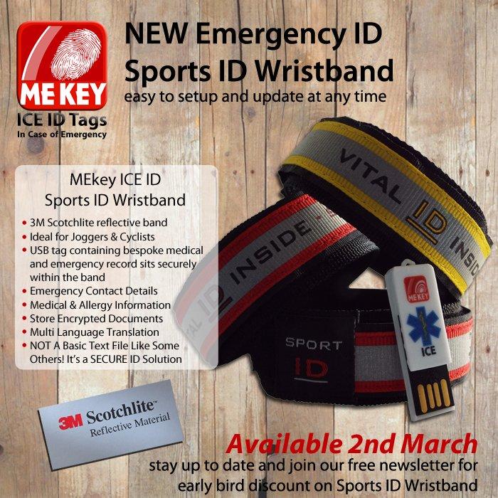Blue Large MEkey ICE ID USB Emergency ID Wristband Cyclist ID Wristband