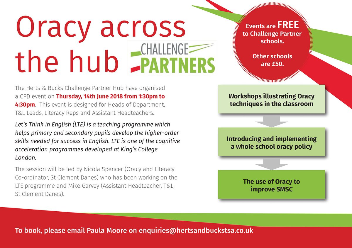 The Herts & Bucks Challenge Partners Hub have organised an Oracy CPD event on Thursday, 14th June 2018 from 1:30pm to 4:30pm. It includes workshops illustrating Oracy techniques in the classroom, the use of Oracy to  improve SMSC and implementing a whole school Oracy policy. https://t.co/xwuSnWnpbL