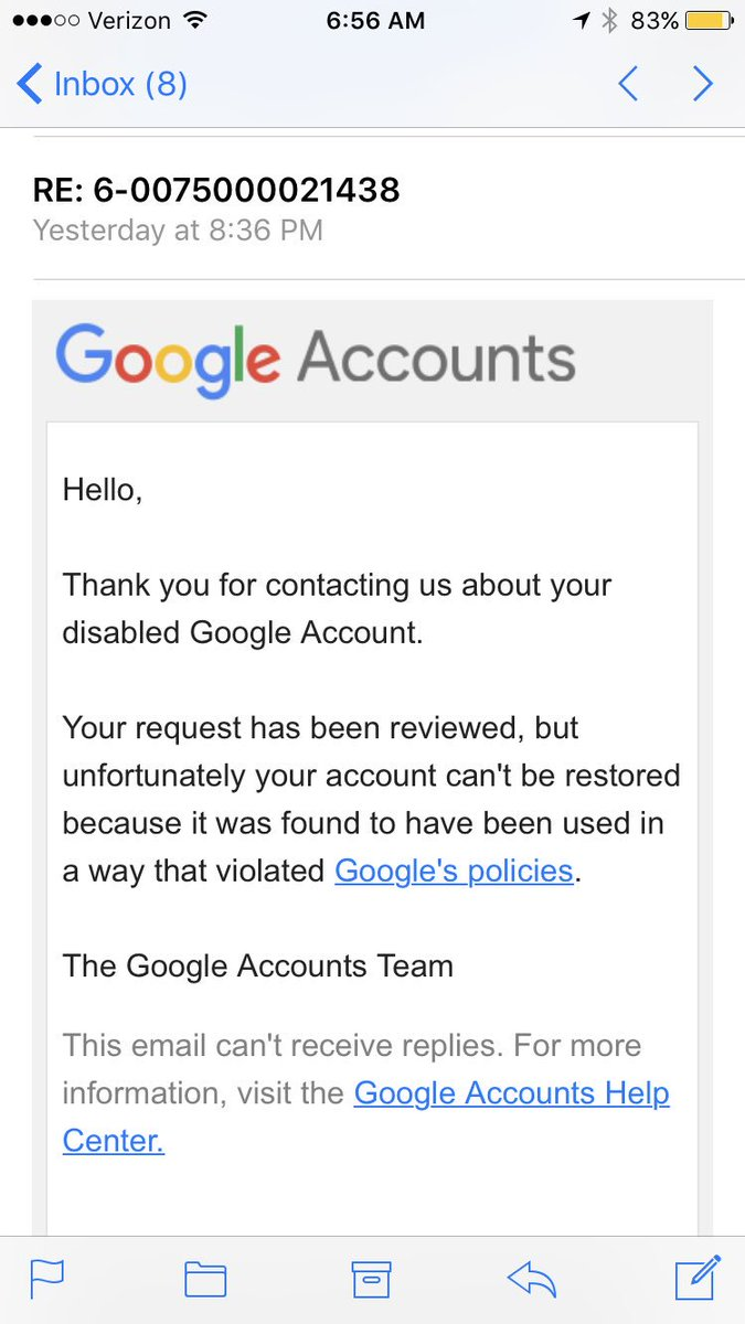 "google on twitter: ""understood. we suggest contacting the appeals"