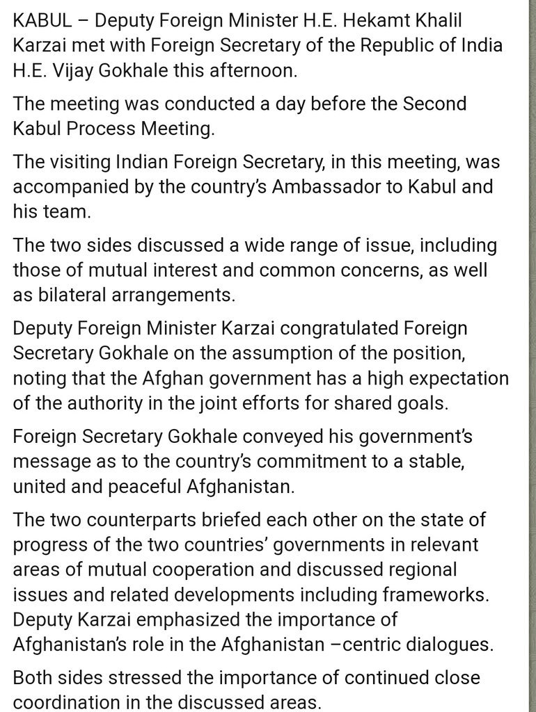 Foreign Secy Vijay Gokhale in Kabul; Meets Afghan Deputy Foreign Minister Hekamt Khalil Karzai, assures Afghanistan of India's support to Kabul's peace process🇦🇫🇮🇳