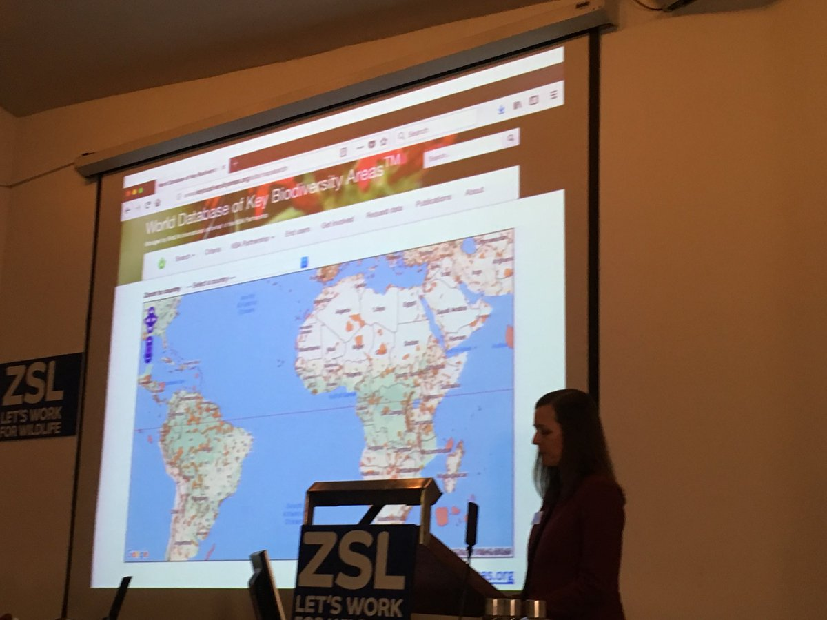 Penny Langhammer talking about key biodiversity areas at #spacefornature symposium at ZSL. Key sites for informing protected area expansion and plans to conserve biodiversity