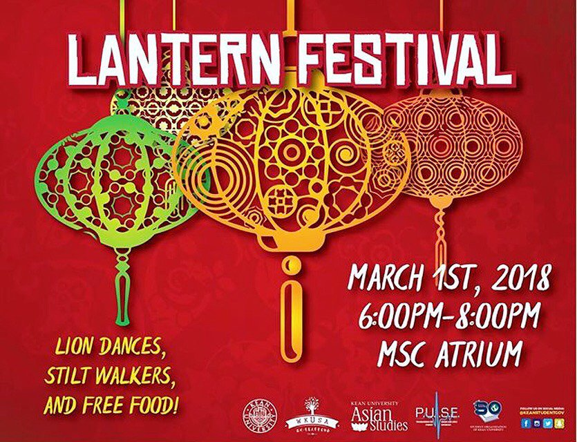 Come celebrate the Lantern Festival on Thursday, March 1st in MSC 6-8pm. Don't miss out on this dazzling experience with stilt walkers, lion dances, and free food!!! #keanuniversity #pulse #keanstudentgov #wkusa #keanids #keanhistory #asianstudies #lanternfestival #freefood