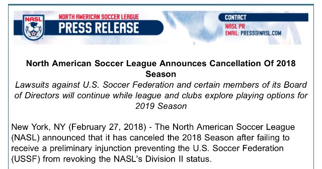 Image result for nasl cancellation