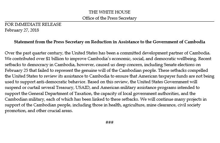 Statement from the Press Secretary on Reduction in Assistance to the Government of Cambodia