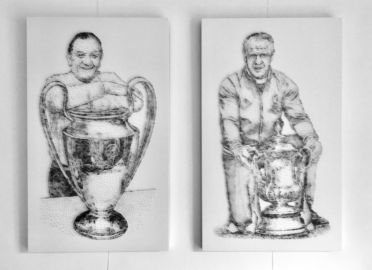 Two great managers of Liverpool, portraits made from 60,000 nails. #europeancup #facup Bob Paisley, Bill Shankly @lfc @Carra23 @Hotel_Tia