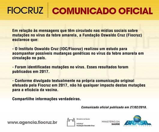 #FebreAmarela @fiocruz esclarece boato sobre mutações no vírus e ineficácia de vacina