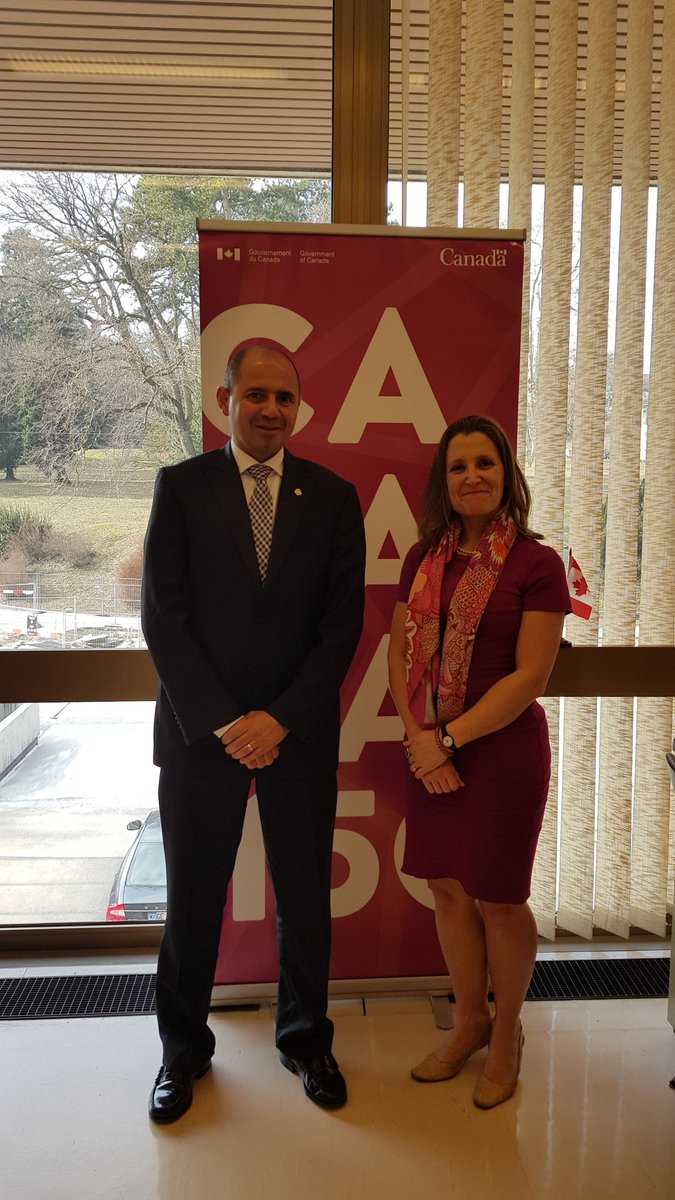 Minister Freeland met with #CostaRica's Vice Minister of Foreign Affairs, Alejandro Solano Ortiz, to discuss #HumanRights and the crisis in #Venezuela. #HRC37