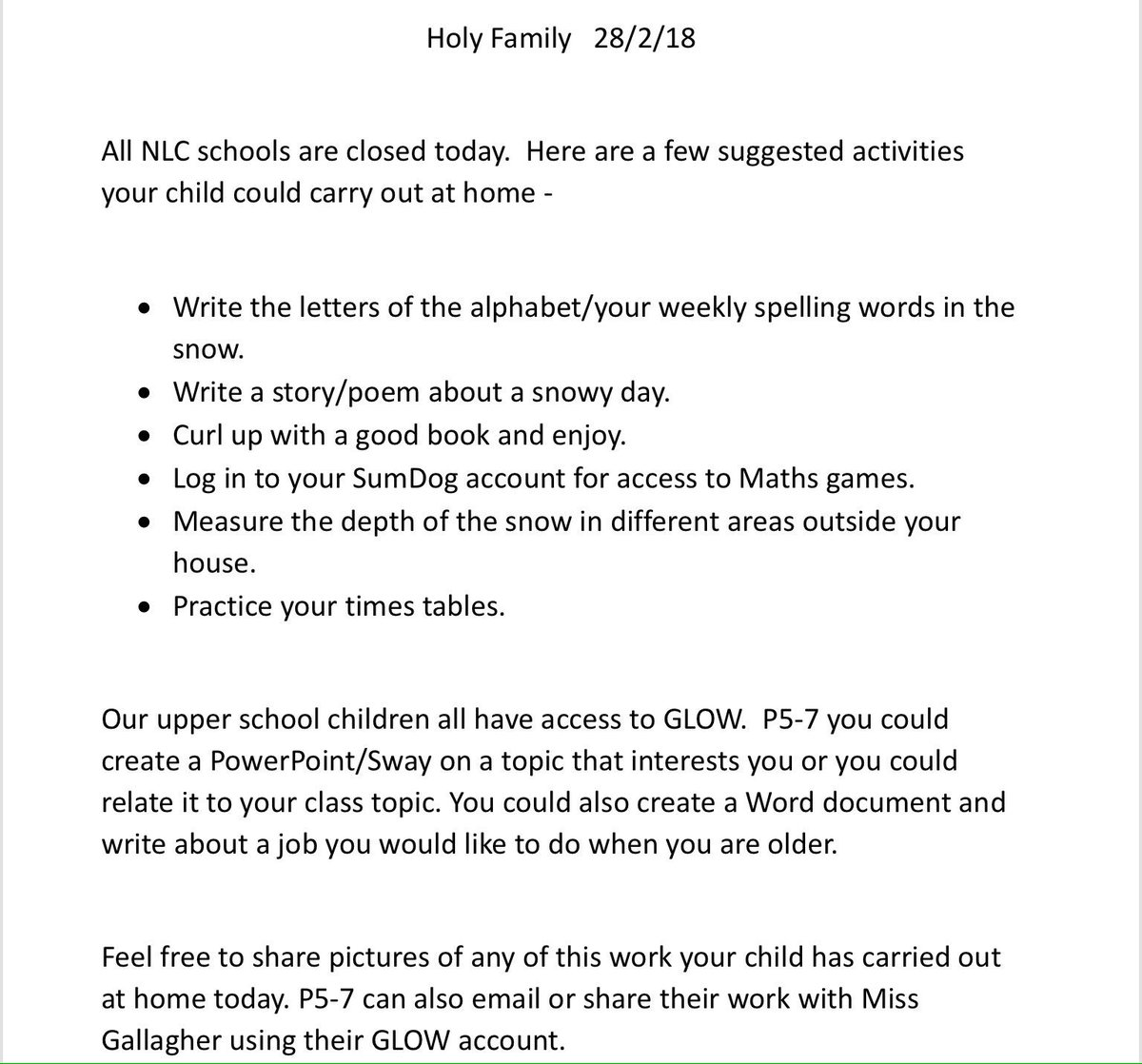 Holy Family Primary on Twitter: