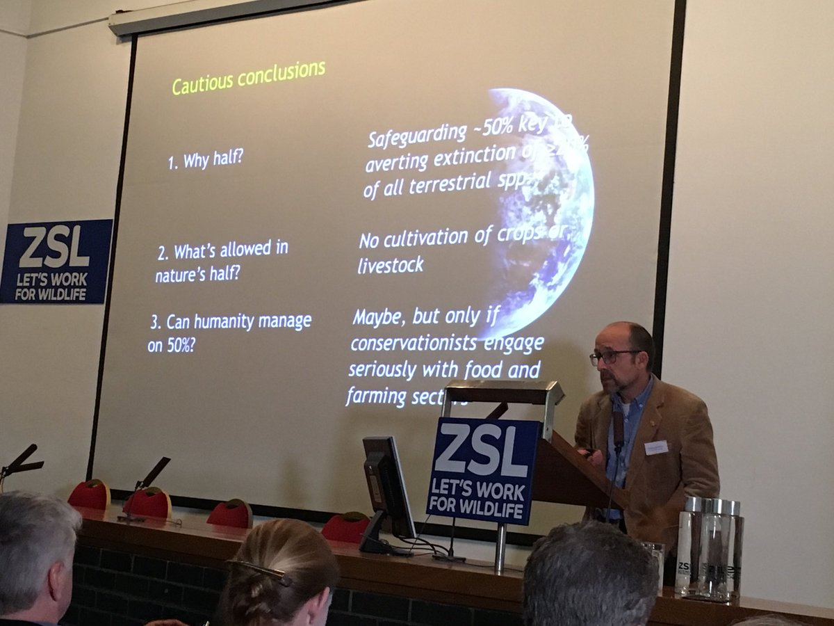 Andrew Balmford explaining at #spacefornature symposium that we can conserve biodiversity and provide enough food for the planet over coming decades, but there are some hefty caveats