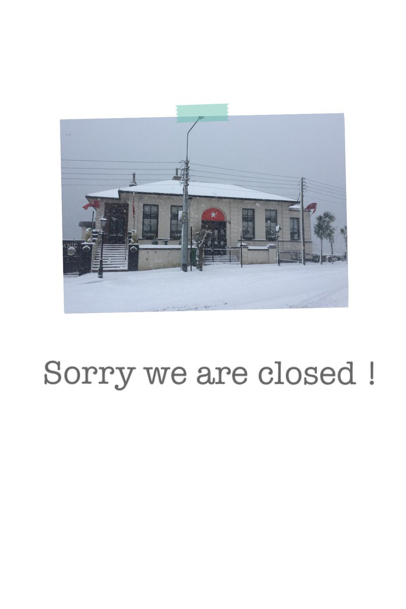Closed today, Thursday and Friday due to severe weather conditions #BeastFromTheEast cork https://t.co/V7Sm4ZMB3S