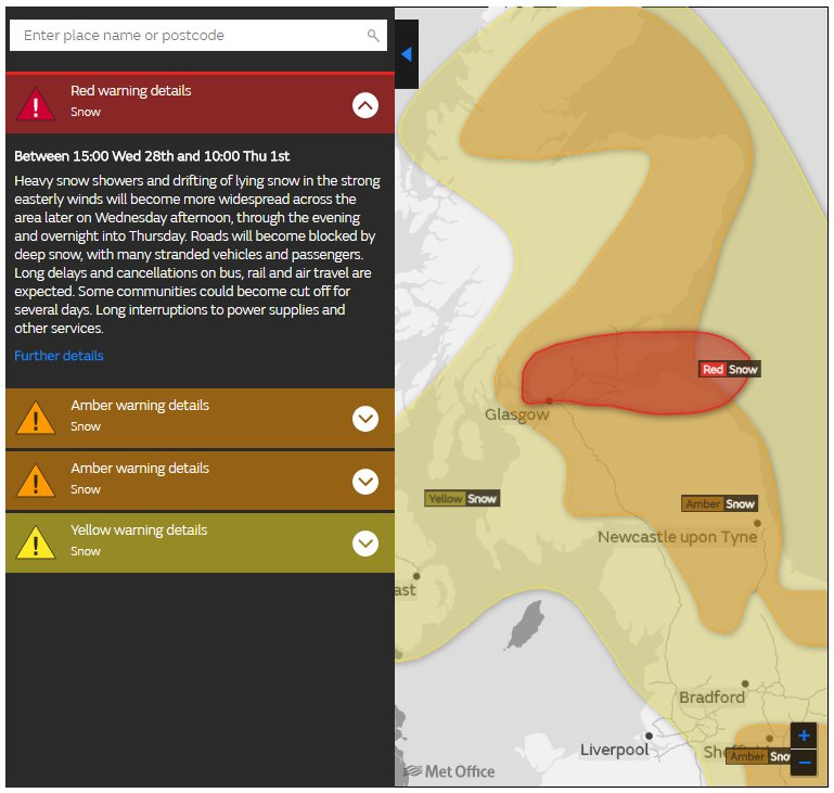 A red severe weather warning for #snow has been issued:  https://t.co/QwDLMfRBfs Stay #weatheraware @metofficeuk