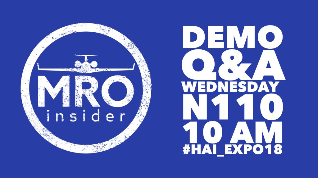 #MROinsider is presenting this morning at @HeliAssoc #HAI_Expo18 in room N110 with Q&amp;A to follow! #transparency #efficiency #genav #bizav #aircraftmaintenancesolutions #vegas #startup #aviation #helicopters #rotor<br>http://pic.twitter.com/gDXOapz4vJ