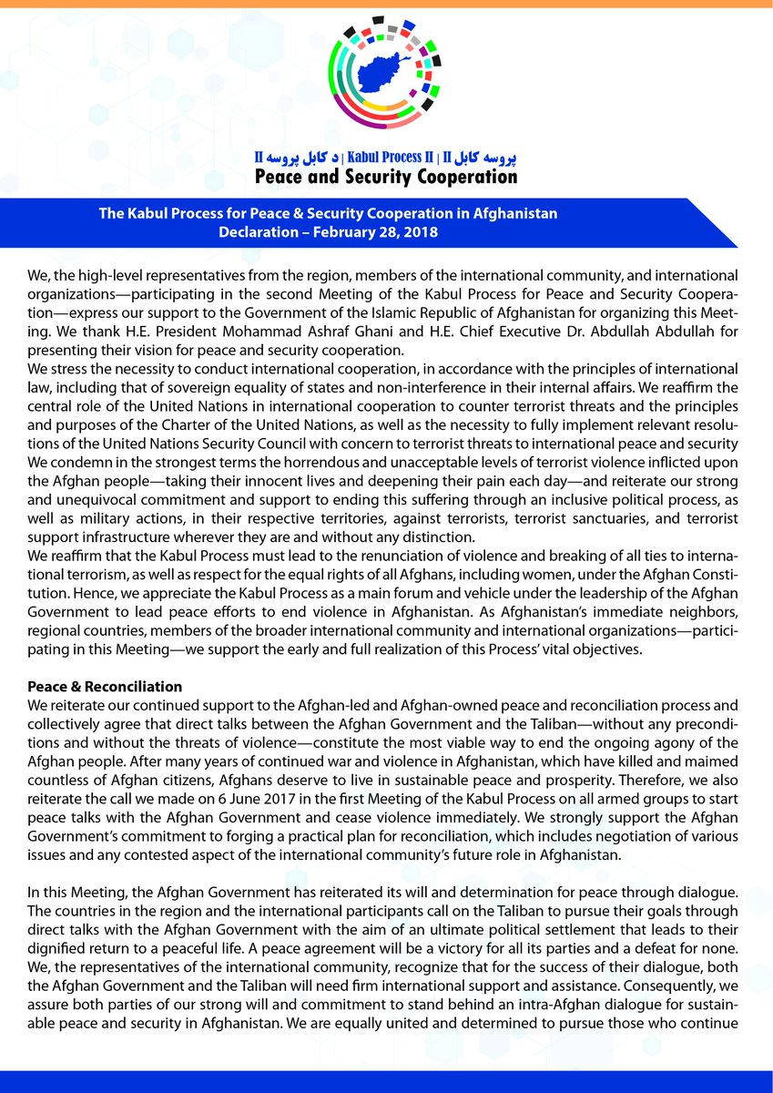 The Kabul Process for Peace & Security Cooperation in Afghanistan Declaration  go.mfa.af/kp-ii-declarat…