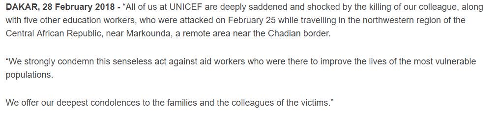 All of us at UNICEF are deeply saddened and shocked by the killing of our colleague, along with five other education workers, in attack against humanitarian workers in the Central African Republic: https://t.co/MLd5enfGyN    #NotATarget