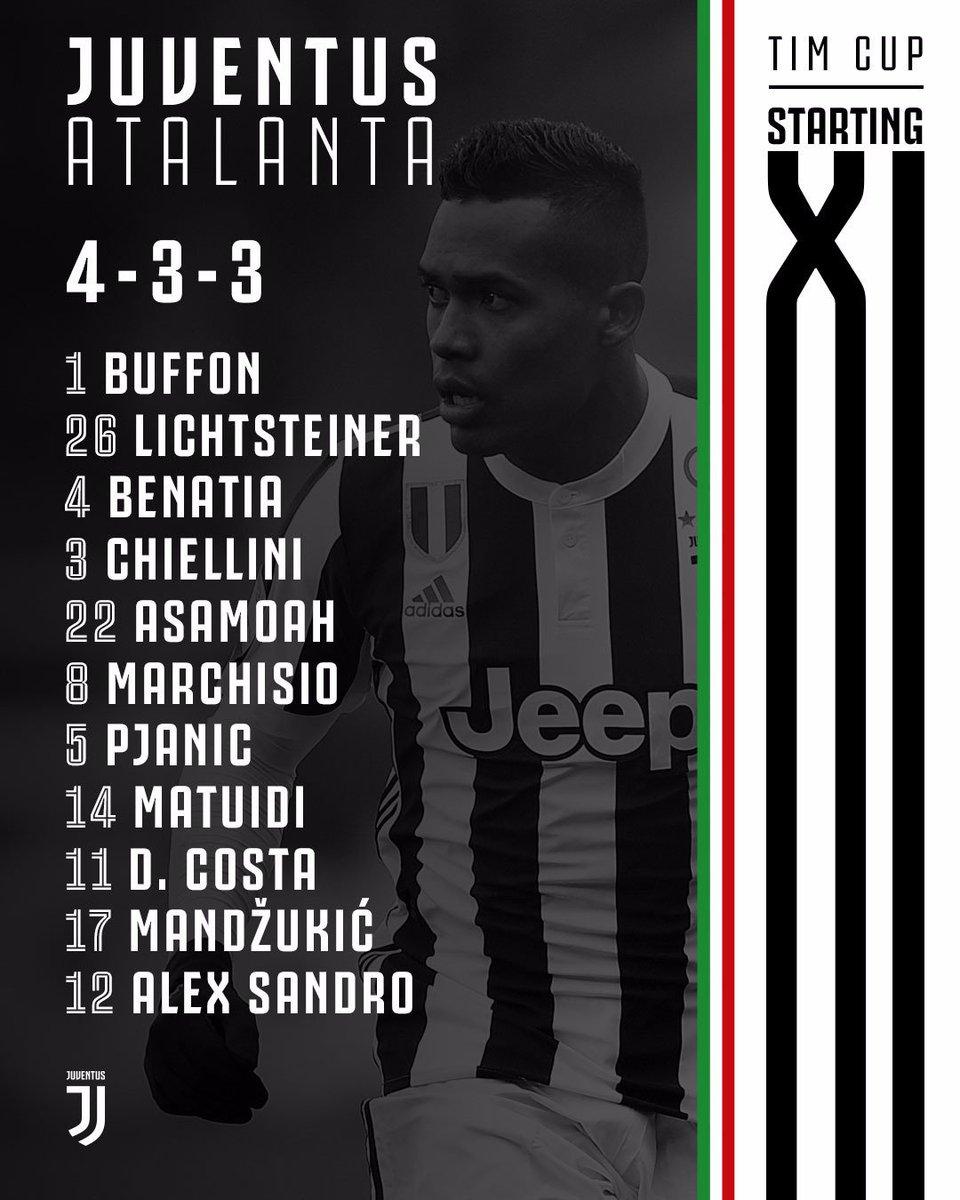 Starting IX Juventus kontra Atalanta di leg ke-2 Semifinal Coppa Italia (28/2/2018), via Twitter @juventusfcid