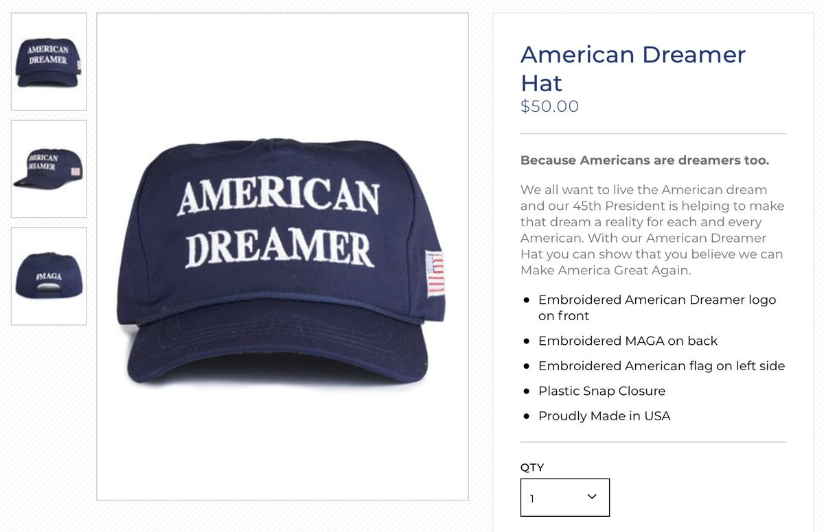 """130457d17a2e3 The trump campaign store is now selling  50 """"american dreamer"""" maga hats"""