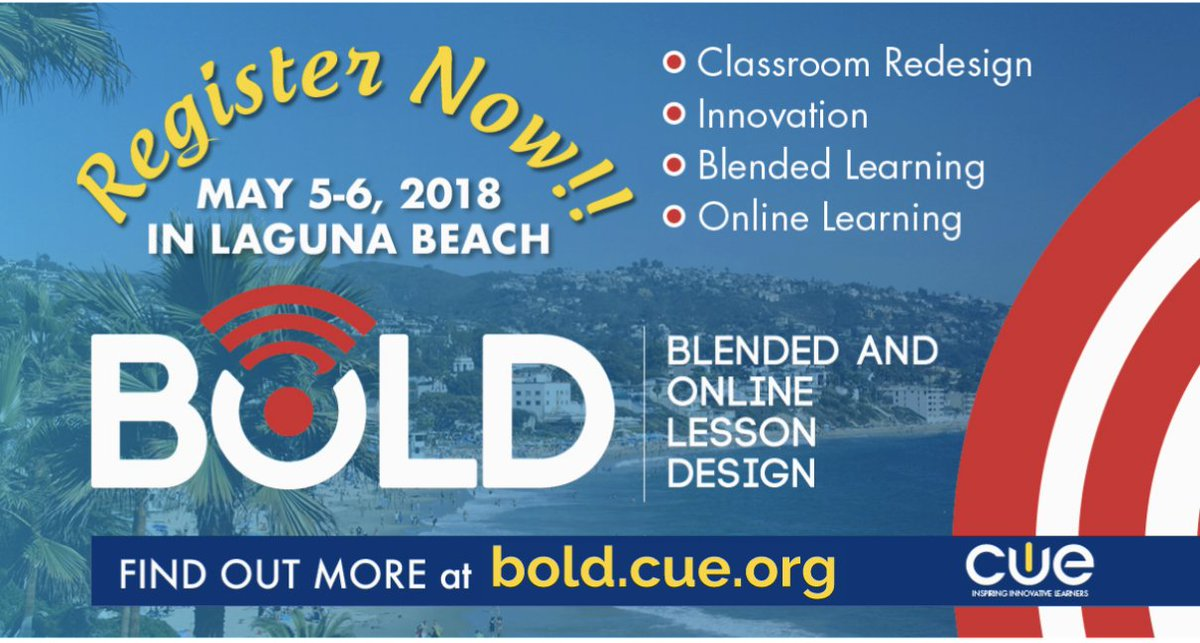 Ready to next level your lesson design? #CUEBOLD features 20 experts at design in a 1:1 learning environment.  http:// bold.cue.org  &nbsp;     @LindseyBlass1 @JCorippo @CateTolnai @JasonSeliskar @mytakeontech  #CUEBOLD #CUE #CUEchat #tosachat #blendedlearning #personalizedlearning<br>http://pic.twitter.com/1gE3vXAN4f