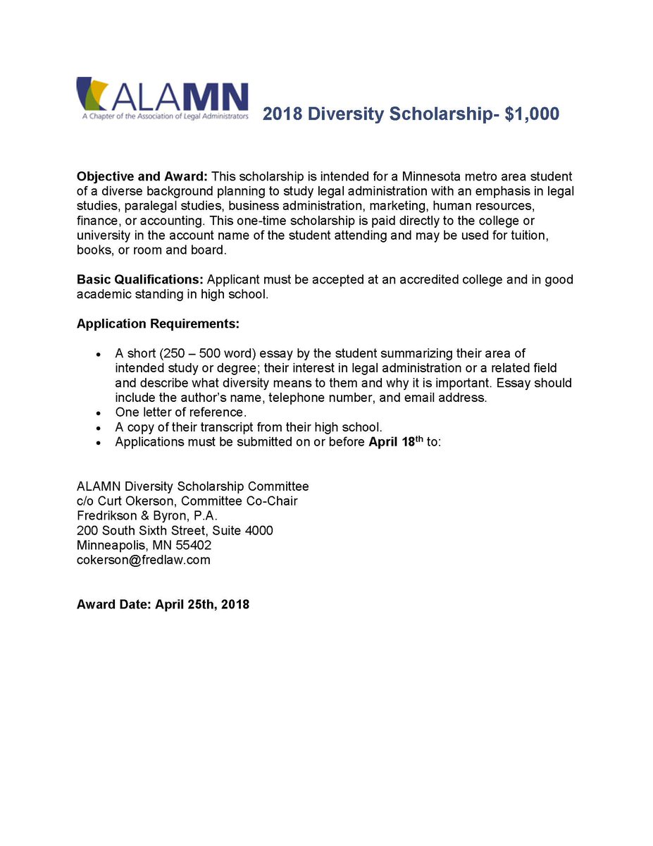 Alamn On Twitter Alamn Is Awarding A  Diversity Scholarship  Alamn On Twitter Alamn Is Awarding A  Diversity Scholarship  Check  Out The Details Alamn Diversityandinclusion Students  Thesis Statement For Persuasive Essay also Essay About High School  High School Admission Essay