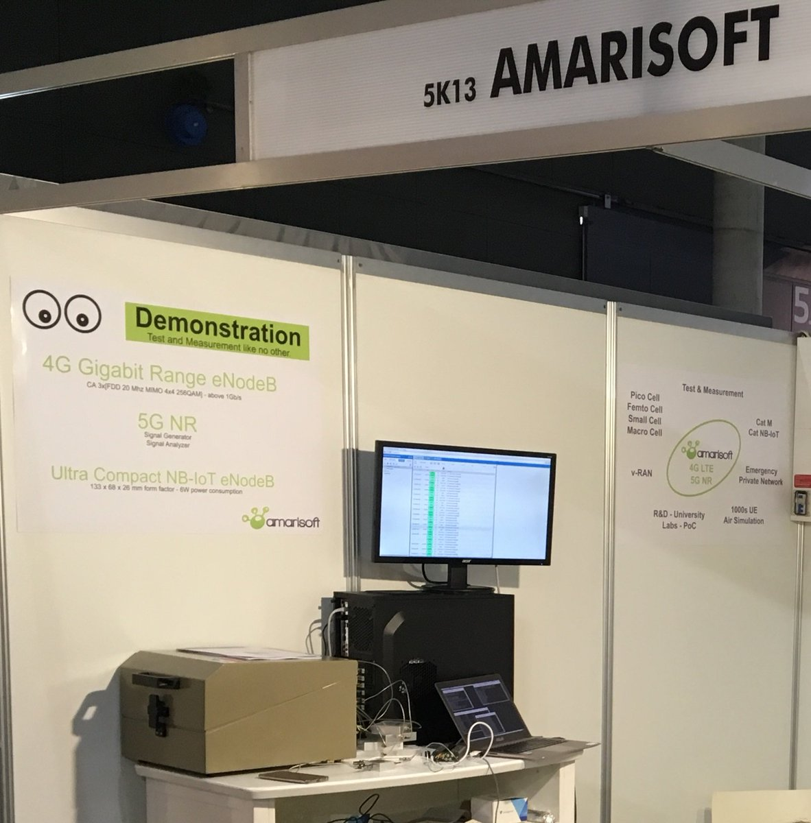 Last day at #MWC18 to watch @amarisoft live demos and have a chat with our team! #5G NR software, #4G gigabit range #eNodeB and tiny #NB-#IoT #eNodeB