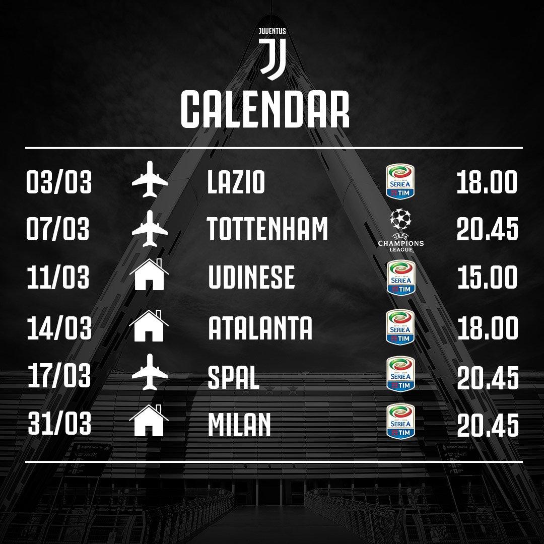 Jadwal pertandingan Juventus di bulan Maret 2018, via twitter @juventusfcen