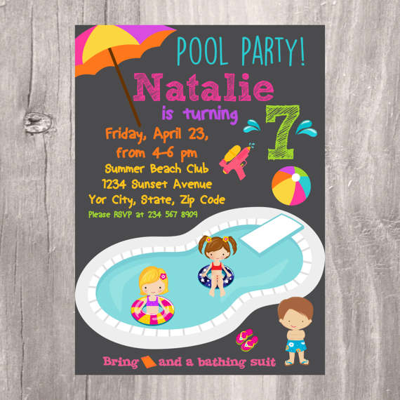 Isidesigns On Twitter Pool Party Invitation Printable Birthday