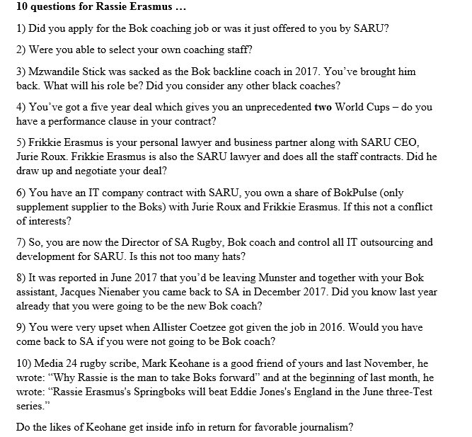 The 10 questions you wouldn't have heard at the Rassie Erasmus/Bok press conference today ...
