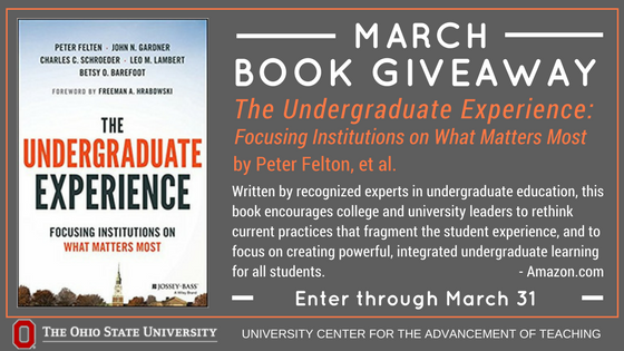 .@OhioState, enter to win a copy of The Undergraduate Experience by Peter Felton et al. The book focuses on practices that create powerful, integrated learning for all undergraduate students. Enter by March 30: https://t.co/0bwWGEKUJo