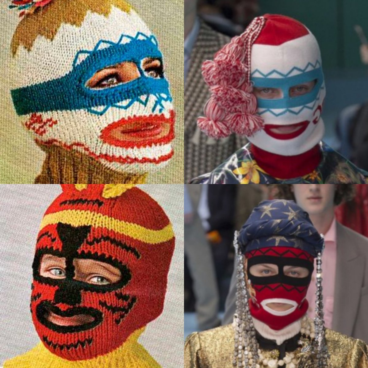618eec501674 On the left are ski mask knitting patterns from late 70s and on the right  Gucci Fall 2018 balaclava masks. Same same but different