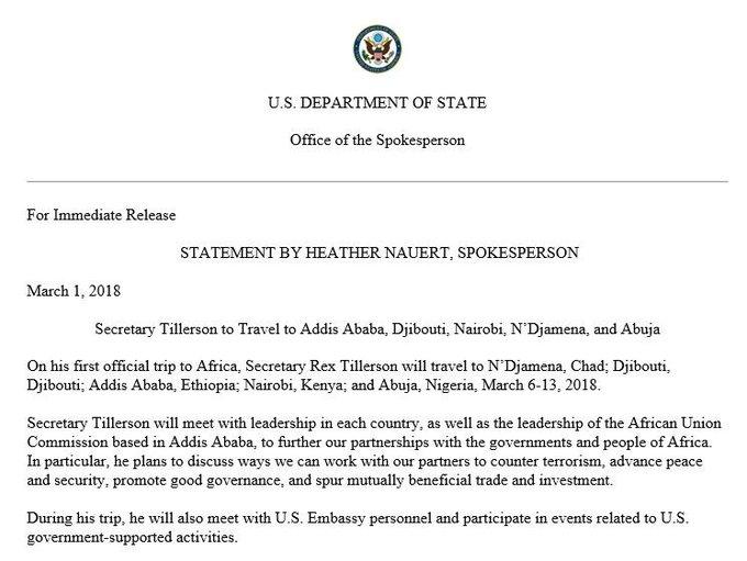 Secretary Tillerson to Travel to Addis Ababa, Djibouti, Nairobi, N'Djamena, and Abuja