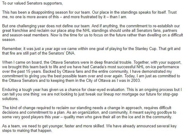 Dear Ottawa Fans