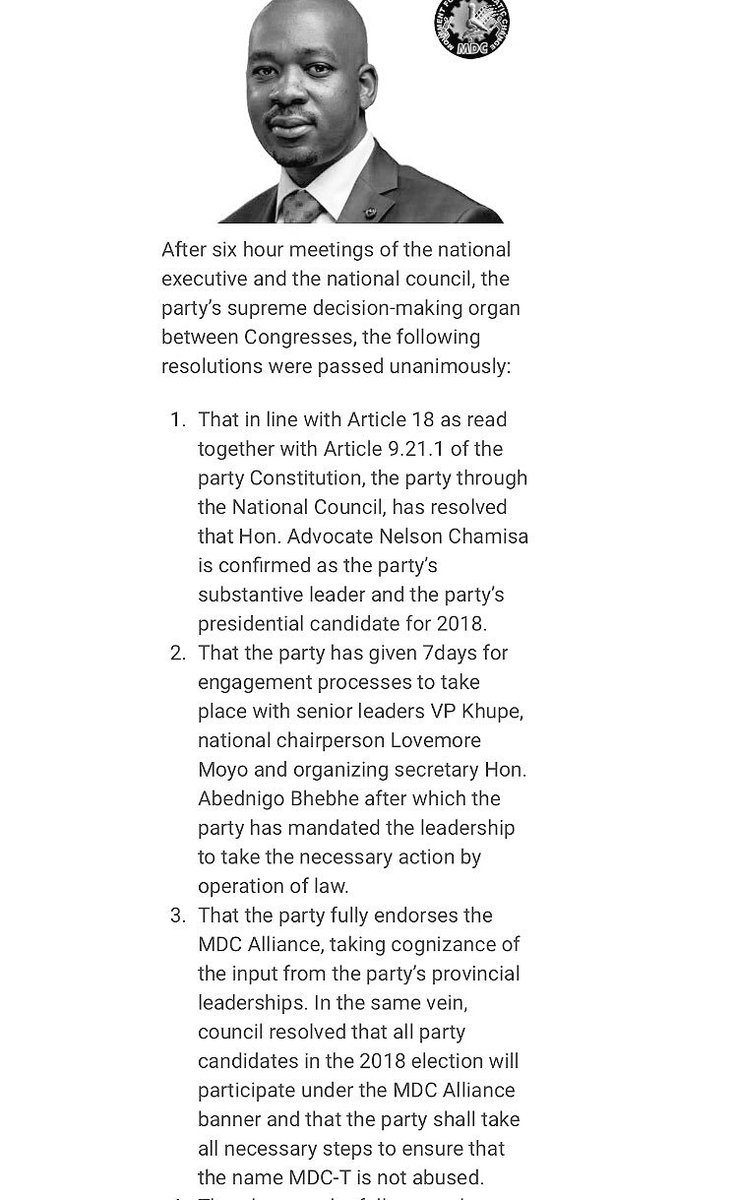 Statement from Zimbabwe main opposition party MDC. Nelson Chamisa will be their Presidential candidate for the 2018 election. 40 year old Mr Chamisa takes over as Party Leader following the death of Morgan Tsvangirai who passed away earlier this year.