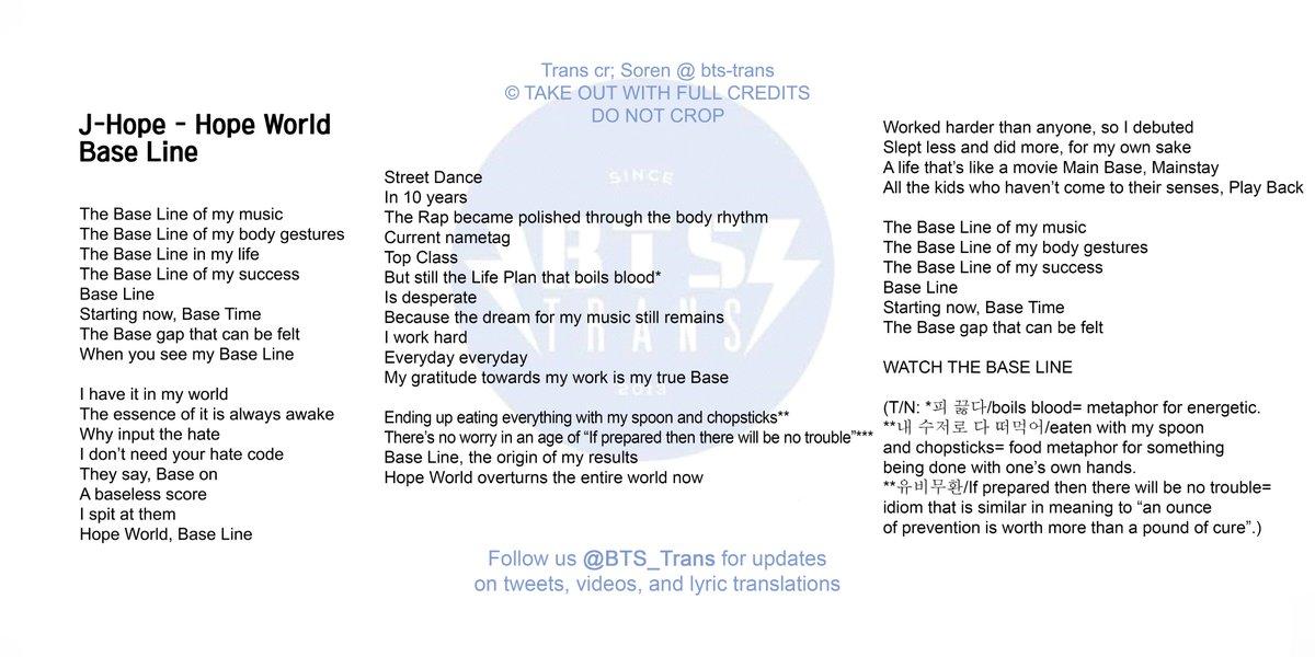 Bangtan Translations On Twitter Koreng Lyrics Base Line By J