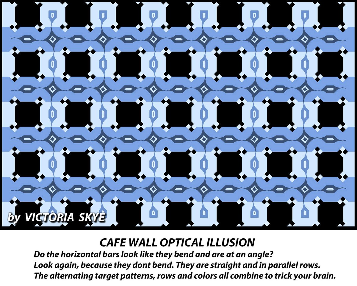 The most mind-boggling optical illusion I've seen in a while. Those horizontal bars really are parallel. https://t.co/BHzHwcoFul