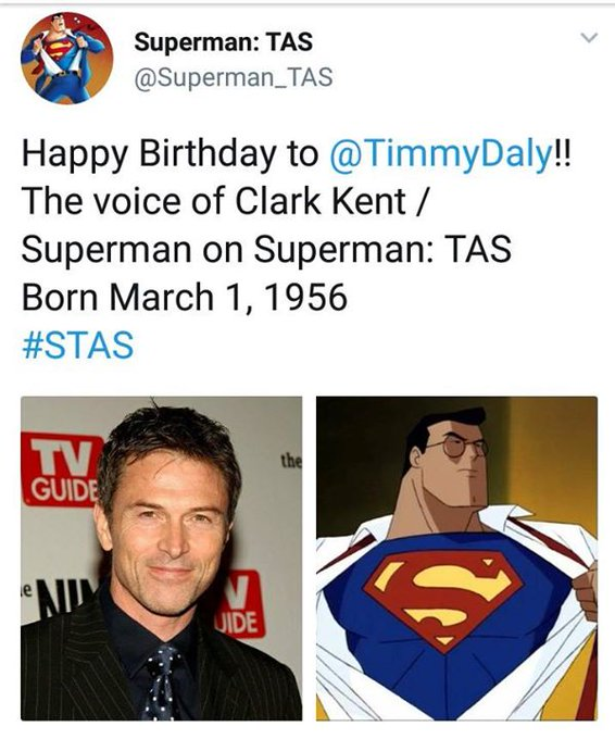 Happy Birthday to the Voice of Clark and Superman, Tim Daly. I miss the Animated Shows. Man the ...