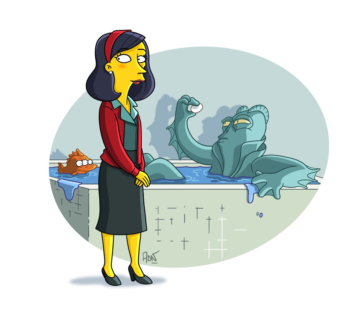 The Shape Of Water #Simpsonized  @shapeofwater @RealGDT #TheShapeofWater #illustration 🌊