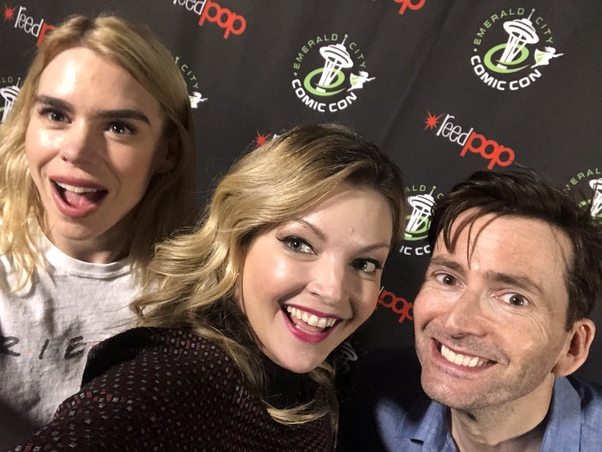 David Tennant, Billie Piper and panel host Clare Kramer at Emerald City Comic Con fan convention in Seattle - 1/3/18