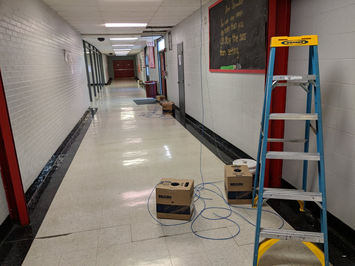 Running cable at Fox High for much needed new security cameras. @rsherp