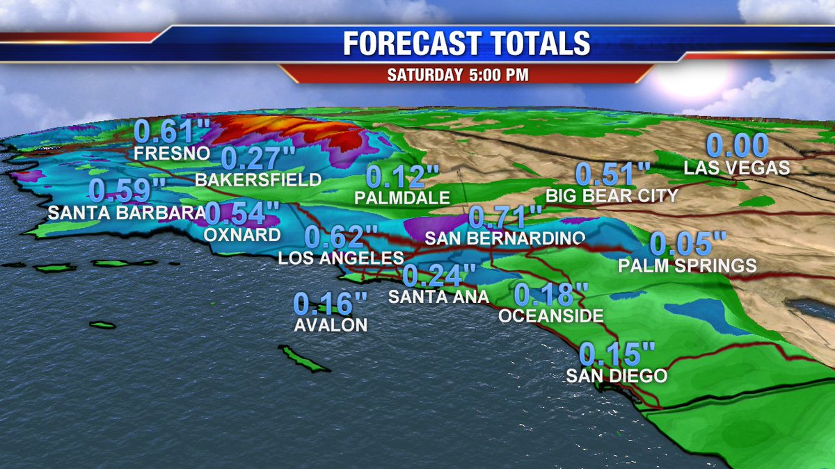 Forecast Rainfall Totals for #SoCal. More expected in the Mountains and Foothills. #LAweather
