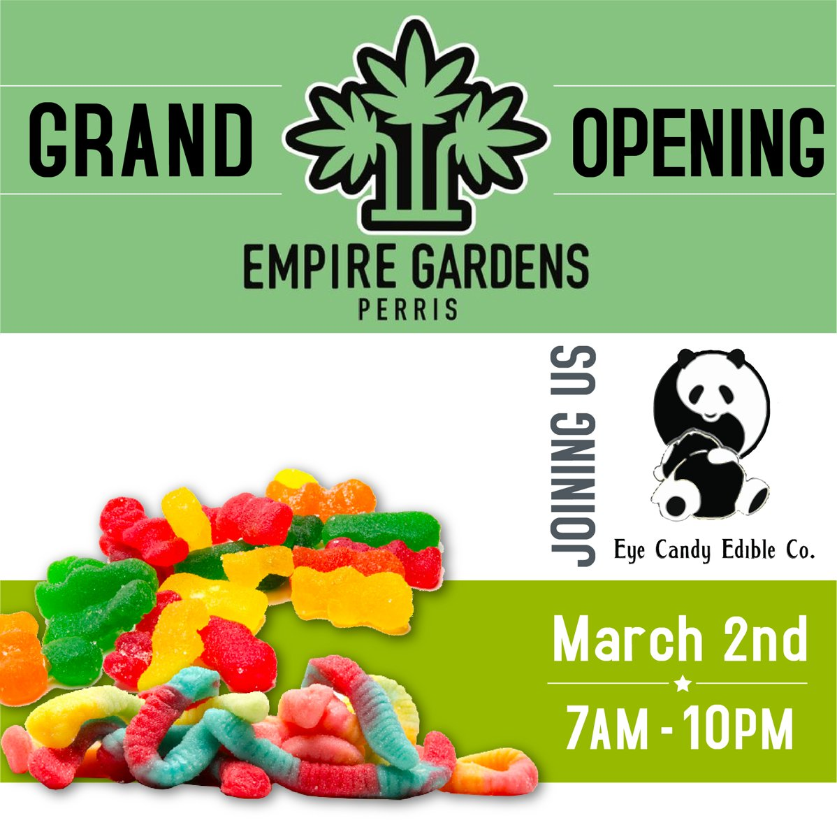And for those of you that have a sweet tooth... in other words EVERYONE! Let's not forget our friends at Eye Candy Edibles that will be joining us tomorrow too!!! #eyecandyedibles #kushcandy #eyecandyedibleco #realempiregardens #empiregardens #grandopening #freebies #freestuff