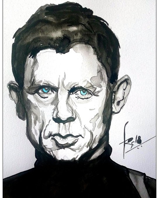 Happy birthday  Bond Craig Watercolour on A4 fabriano paper 45 min.