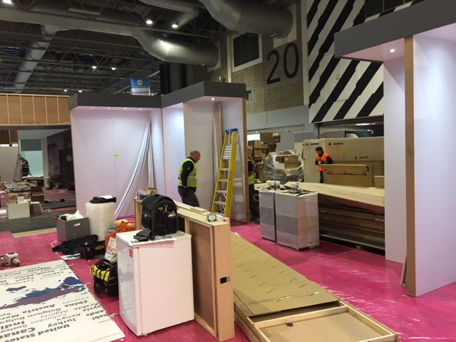 More photos of Romans installation team at #kbb18 @thenec #futurekbb  building our stand E70 we will hopefully see lots of you this Sunday!
