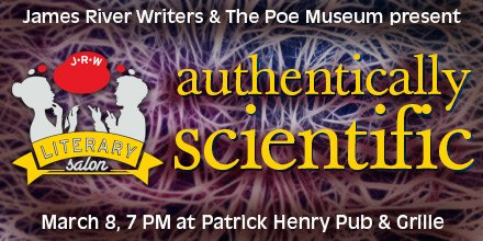 Do you #write #scientificwriting or #sciencefictionwriting? At March Literary Salon, behavioral neuroscientist, Dr. Kelly Lambert (@urichmond), will discuss how to incorporate science into your writing authentically while still entertaining readers #jrw18  https:// jamesriverwriters.org/event/literary -salon-authentically-scientific/ &nbsp; … <br>http://pic.twitter.com/OZJEOEawm6